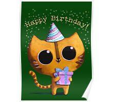 Cute Birthday Cat Poster