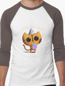 Cute Birthday Cat Men's Baseball ¾ T-Shirt