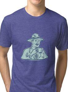 Man Fedora Hat Drinking Coffee Etching Tri-blend T-Shirt