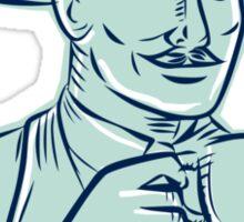 Man Fedora Hat Drinking Coffee Etching Sticker