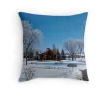 snowy pathway Throw Pillow