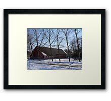 snowy village Framed Print