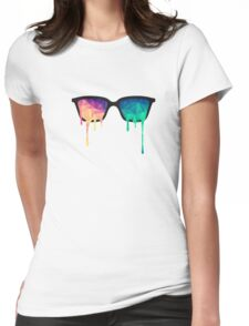 Abstract Polygon Multi Color Cubism Low Poly Triangle Design Womens Fitted T-Shirt