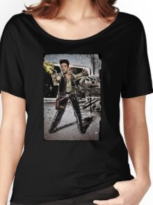 Elvis Han Solo Collage Art Home Decor, Elvis Presley, Star Wars, Harrison Ford, Millenium Falcon, Death Star Women's Relaxed Fit T-Shirt