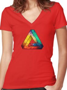 Abstract Multi Color Cubizm Painting Women's Fitted V-Neck T-Shirt