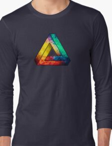 Abstract Multi Color Cubizm Painting Long Sleeve T-Shirt