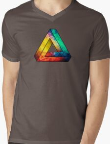 Abstract Multi Color Cubizm Painting Mens V-Neck T-Shirt