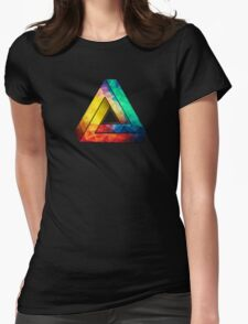 Abstract Multi Color Cubizm Painting Womens Fitted T-Shirt