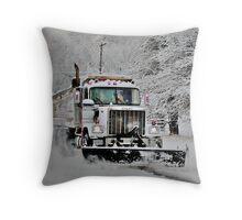 Neighborhood Snow Plow Throw Pillow