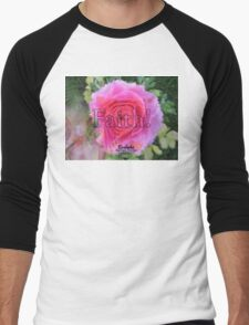 Angels Pink Rose of Faith Men's Baseball ¾ T-Shirt