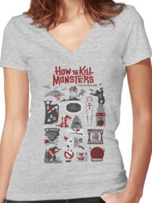 How to Kill Monsters Women's Fitted V-Neck T-Shirt