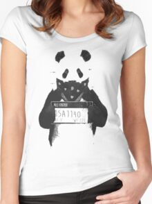 Bad Banksy Panda Women's Fitted Scoop T-Shirt