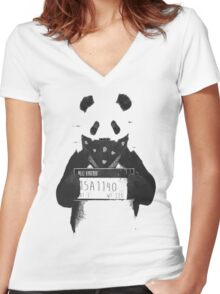 Bad Banksy Panda Women's Fitted V-Neck T-Shirt
