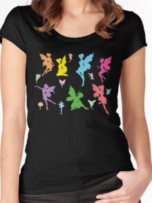 Colorful Flying Fairy Women's Fitted Scoop T-Shirt