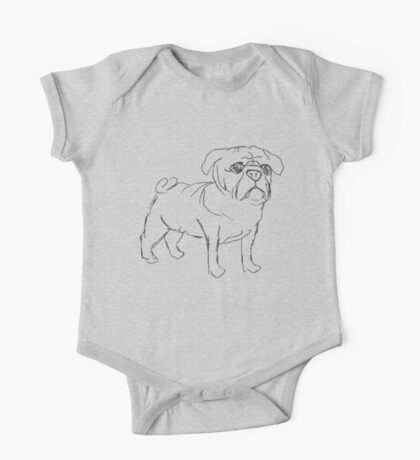 Simple Pug One Piece - Short Sleeve