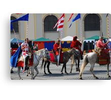 Medieval knights parade Canvas Print