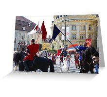 Medieval knights parade in Sibiu, Romania Greeting Card