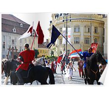 Medieval knights parade in Sibiu, Romania Poster