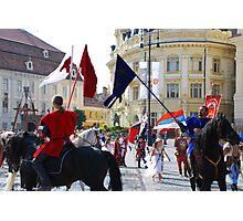 Medieval knights parade in Sibiu, Romania Photographic Print