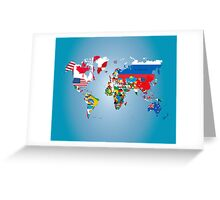 Traveler World Map Flags  Greeting Card
