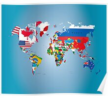 Traveler World Map Flags  Poster