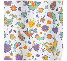 -  Seamless doodle birds pattern (white) - Poster