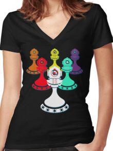 Legion of Pawns (Black) Women's Fitted V-Neck T-Shirt