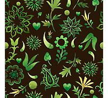 - Green watercolor pattern (black) - Photographic Print