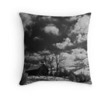 Clark Schoolhouse - clearing snow storm Throw Pillow