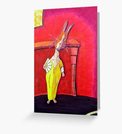 299 - MODIGLIANI BUNNY - DAVE EDWARDS - COLOURED PENCILS & INK - 2010 Greeting Card