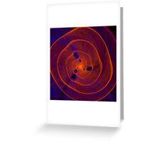 Orange purple abstract marine spiral fractal background Greeting Card