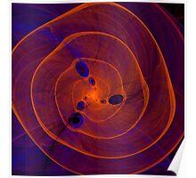 Orange purple abstract marine spiral fractal background Poster