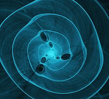 aqua blue abstract marine spiral fractal background by Oksana Ariskina