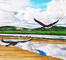 Canada Geese flying over the River Clwyd by sandmartin
