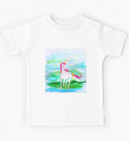 Unicorn Pink Mane Gold Ribbons Kids Tee