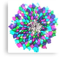 Stained glass effect Flower inked water Doodle Canvas Print