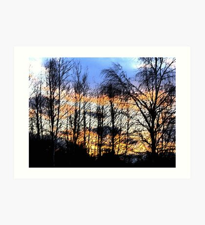 Sunset Sumi-e Art Print