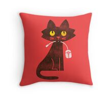 Hungry Hungry Cat Throw Pillow