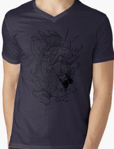 Japanese Warrior and Koi Mens V-Neck T-Shirt