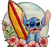 Surfing Stitch and Scrump by Celinaserenity