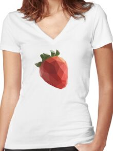 Polygon Strawberry Women's Fitted V-Neck T-Shirt