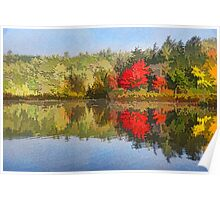 Reflecting on Fall - Autumn Lake Impressions Poster