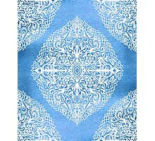 White Gouache Doodle on Pearly Blue Paint Photographic Print