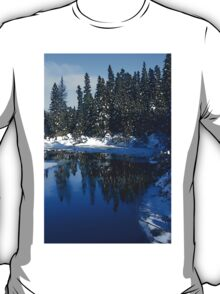 Cool Blue Shadows - Riverbank Winter Forest T-Shirt