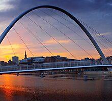 Gateshead Millennium Bridge - Sunset by David Lewins