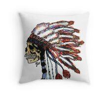 Native American head dress skull  Throw Pillow