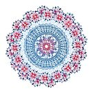 Red, Blue & White Floral Medallion by micklyn