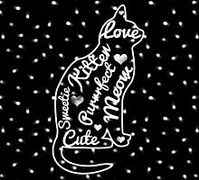 Cute Cat Typography Black White Polka Dots  by GirlyTrend