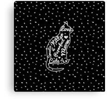 Cute Cat Typography Black White Polka Dots  Canvas Print