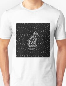 Cute Cat Typography Black White Polka Dots  T-Shirt